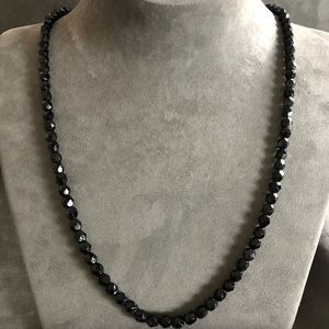 Vintage! 1960's BLK Glass Bead Necklace 24 inch